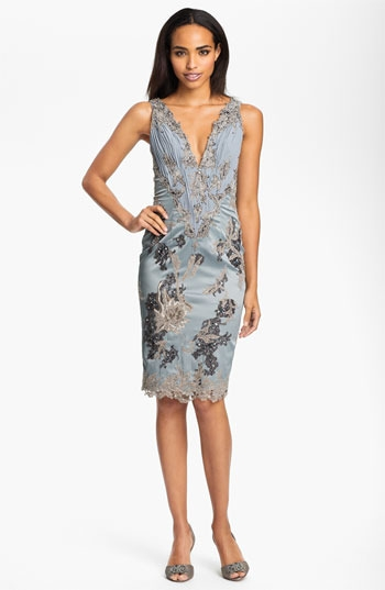 Julian Joyce V-Neck Mixed Media Sheath Dress