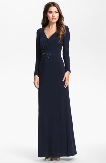 Kathy Hilton Embellished Long Sleeve Jersey Gown