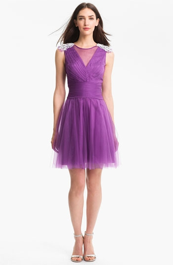 Kathy Hilton Embellished Tulle Fit & Flare Dress