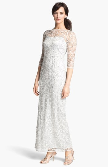 Kay Unger Embellished Illusion Neck Lace Gown