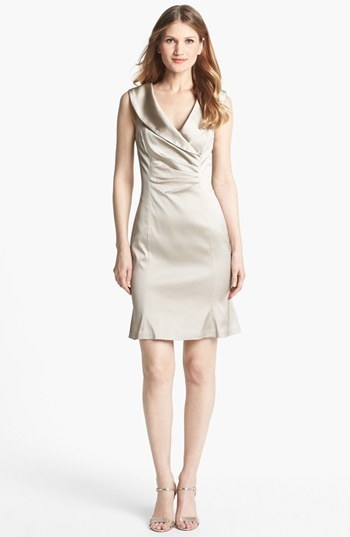 Kay Unger Satin Sheath Dress