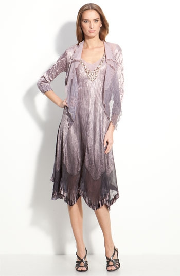 Komarov Beaded Pleated Charmeuse Dress & Jacket