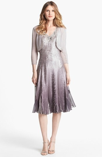 Komarov Embellished Charmeuse Dress & Bolero (Petite)