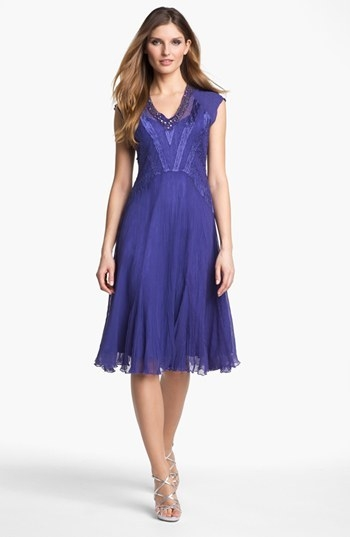 Komarov Embellished Textured Chiffon Dress (Petite)