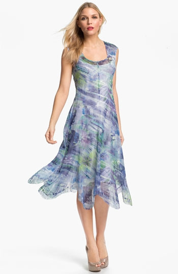 Komarov Sheer Print A-Line Dress