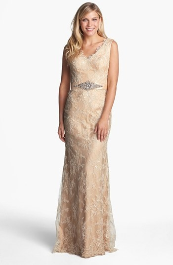 La Femme Embellished Sleeveless Lace Gown