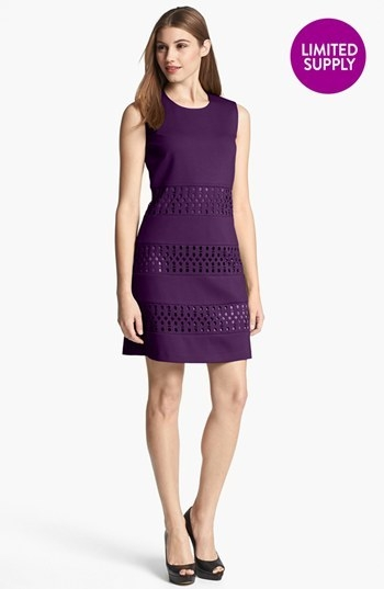 Laundry by Shelli Segal Sleeveless Laser Cut Ponte Shift Dress