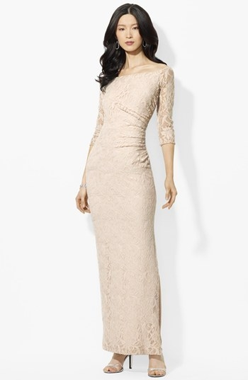 Lauren Ralph Lauren Bateau Neck Lace Dress