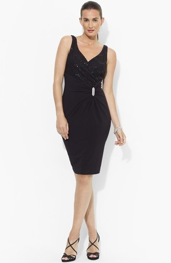 Lauren Ralph Lauren Embellished Lace & Jersey Sheath Dress