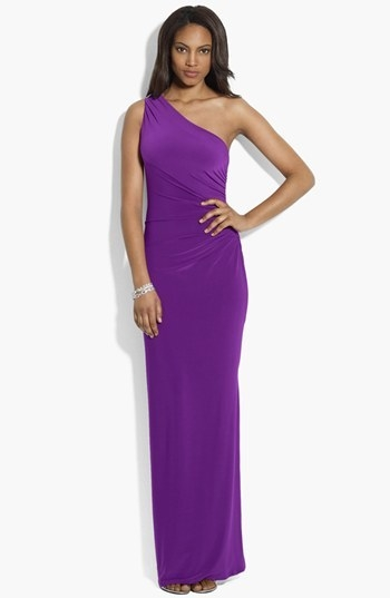 Lauren Ralph Lauren Embellished One Shoulder Matte Jersey Gown