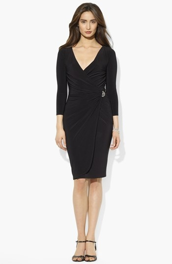 Lauren Ralph Lauren Faux Wrap Matte Jersey Dress