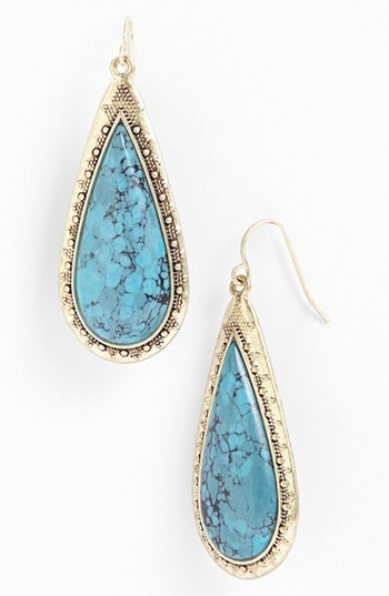 Lauren Ralph Lauren Long Stone Cabochon Teardrop Earrings