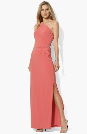 Lauren Ralph Lauren One Shoulder Matte Jersey Dress