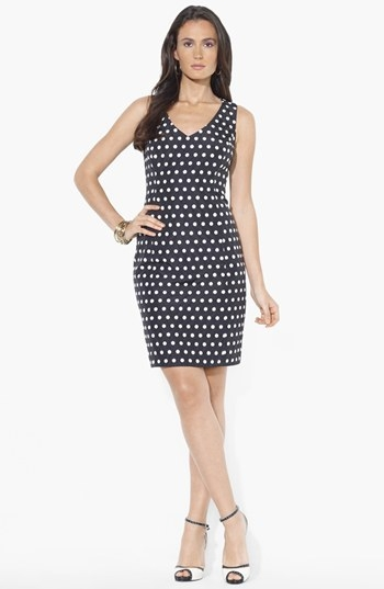 Lauren Ralph Lauren Polka Dot Satin Sheath Dress