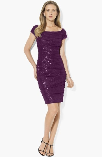 Lauren Ralph Lauren Sequin Off Shoulder Mesh Sheath Dress