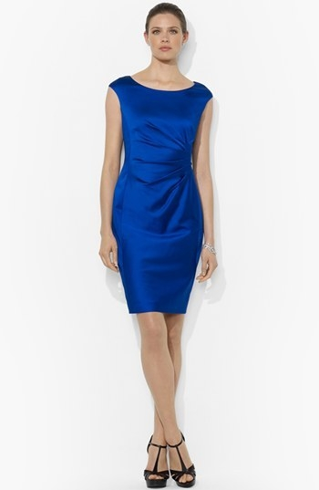 Lauren Ralph Lauren Side Pleat Satin Sheath Dress