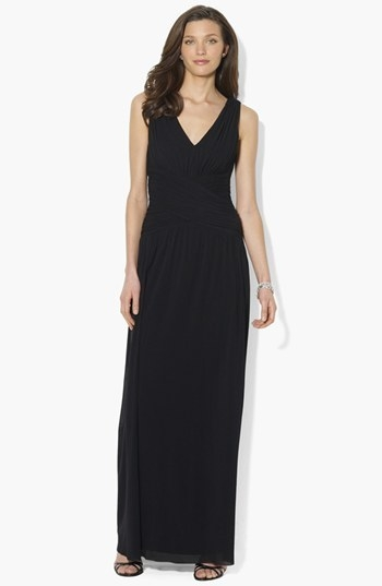 Lauren Ralph Lauren Sleeveless Shirred Dress