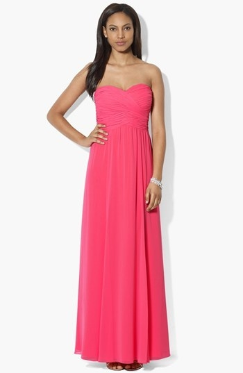 Lauren Ralph Lauren Wrapped Bodice Sweetheart Gown