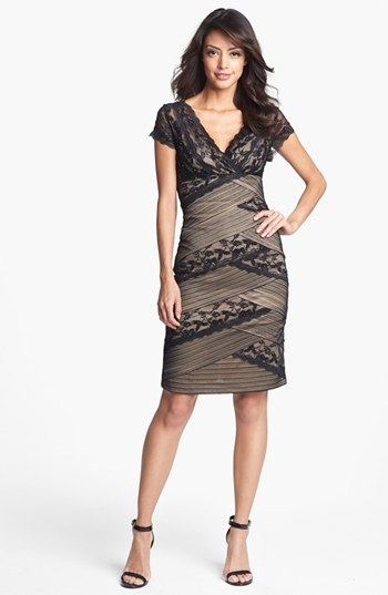 MARINA Mixed Lace Sheath Dress