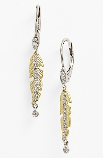 MeiraT 'Charmed' Diamond Leaf Linear Earrings