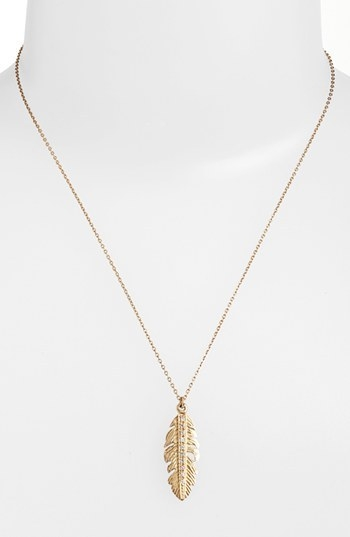 Melinda Maria Small Feather Pendant Necklace