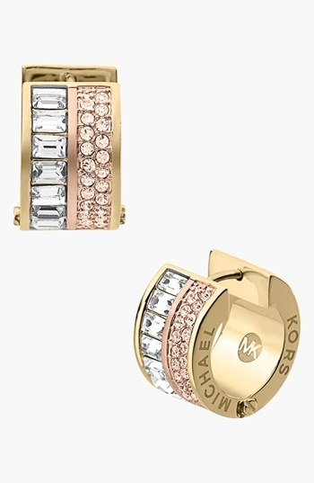 Michael Kors 'Brilliance' Pave Small Hoop Earrings