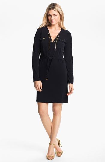 MICHAEL Michael Kors Chain Lace-Up Jersey Dress