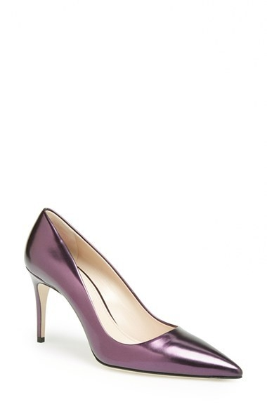 Miu Miu Metallic Pointy Toe Pump (Women)