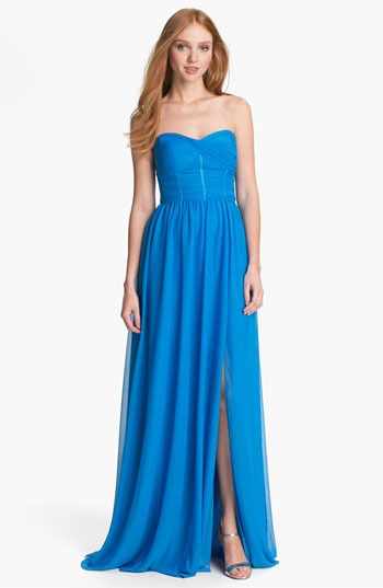 ML Monique Lhuillier Bridesmaids Strapless Chiffon Gown