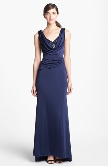 ML Monique Lhuillier Embellished Draped Satin Gown