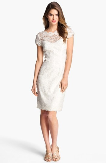 ML Monique Lhuillier Lace Overlay Sheath Dress