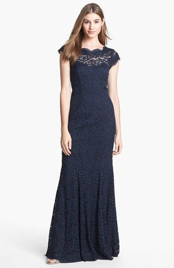 ML Monique Lhuillier Ribbon Trim Lace Gown