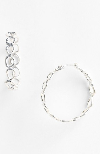Nadri 'Sculpted' Sterling Silver Hoop Earrings
