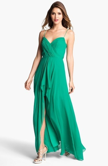 Nicole Miller Draped High/Low Chiffon Dress