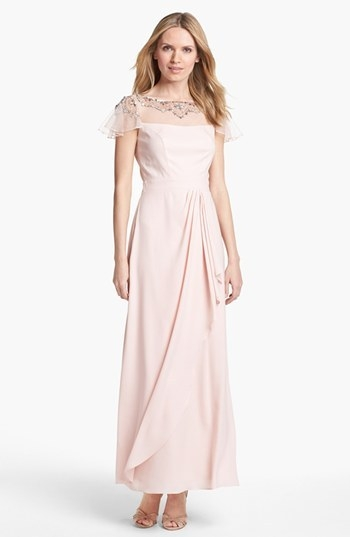 Patra Embellished Faux Wrap Gown