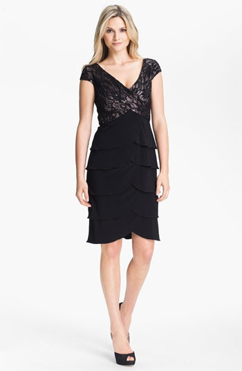 Patra Embellished Lace Tiered Jersey Dress