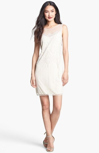 Pisarro Nights Beaded Illusion Cocktail Dress