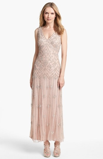 Pisarro Nights V-Neck Beaded Sequin Gown