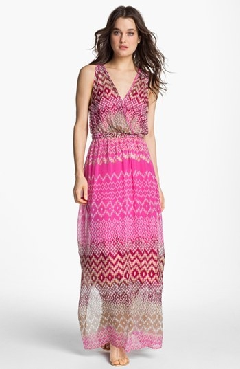 Presley Skye Print Silk Chiffon Maxi Dress