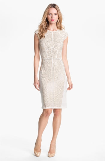 Rebecca Taylor 'Nailhead' Studded Knit Sheath Dress