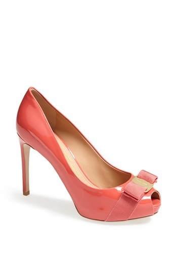 Salvatore Ferragamo 'Plum' Peep Toe Patent Leather Pump
