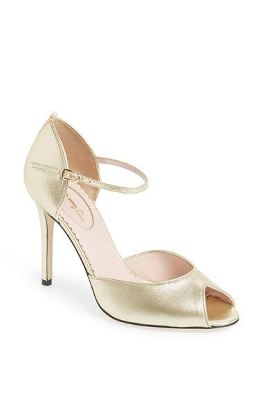 SJP by Sarah Jessica Parker 'Ursula' Open Toe d'Orsay Metallic Leather Pump