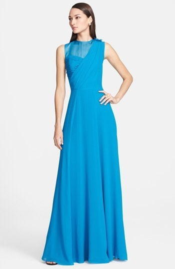 St. John Collection Organza Inset Drape Bodice Silk Georgette Gown