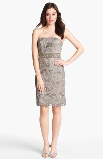 Sue Wong Embellished Strapless Sheath Dress