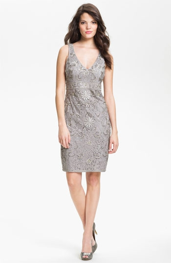 Sue Wong Embellished Tulle Sheath Dress