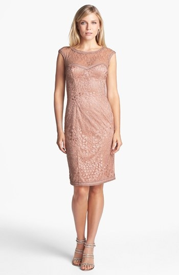 Sue Wong Mixed Lace Sheath Dress