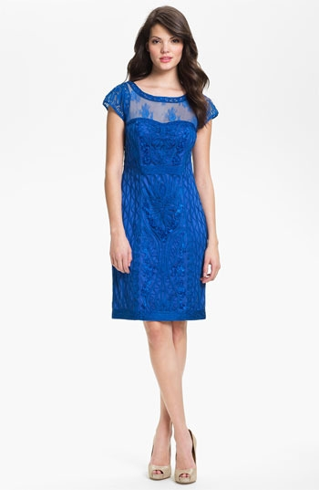 Sue Wong Ribbon Trim Illusion Yoke Sheath Dress