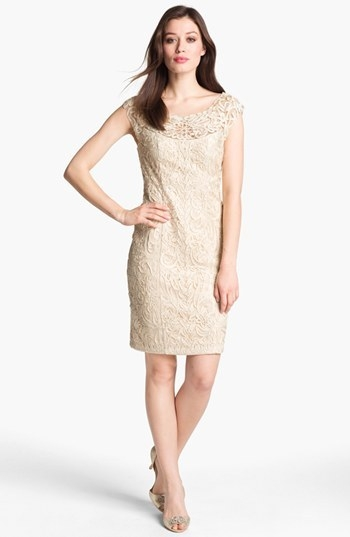 Sue Wong Soutache Cap Sleeve Sheath Dress