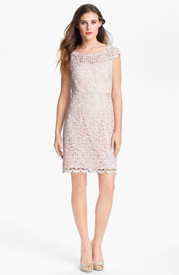 Suzi Chin for Maggy Boutique Scalloped Lace Sheath Dress