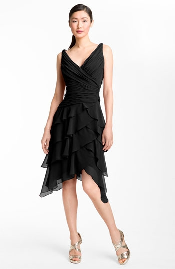 T by Tadashi V-Neck Tiered Ruffle Skirt Chiffon Dress